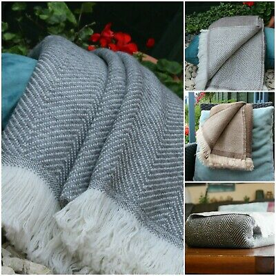 Luxurious Pure Cashmere Throws Blankets Beautifully Soft Warm Hand Woven  • 89.99£
