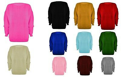 £9.99 • Buy Womens Ladies Chunky Jumper Basic Knitted Casual Cosy Baggy Winter Top Size S-xl