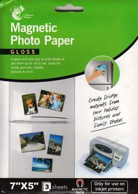 £2.99 • Buy 7 X 5  Gloss Magnetic Photo Paper 3 Sheets For All Inkjet Printers Quick & Easy