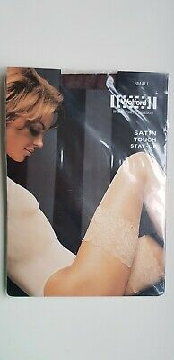 WOLFORD SATIN TOUCH 20 Den STAY-UP Hold Ups S Small COCA Dark Brown Satin Sheen • 15£