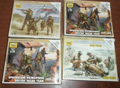 4x Zvezda 1:72 Military Figures  British Infantry , Recon X2, Medical Personnel • 17.99£