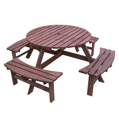 £229.99 • Buy 6 / 8 Seater Wooden Garden Table Bench Furniture Set Round Outdoor Picnic Patio