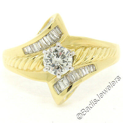 AU1187.18 • Buy 18K Two Tone Gold .90ctw Round Solitaire Diamond & Bypass Baguette Accent Ring
