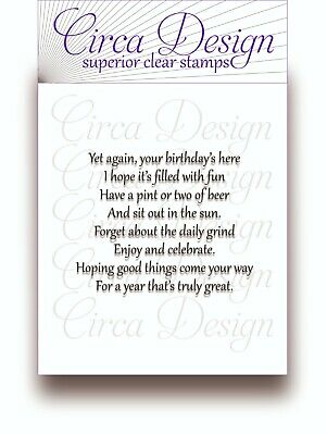 Clear Unmounted Birthday Verse For Male/Men Sentiment Rubber Stamp BDVS73 • 5.50£