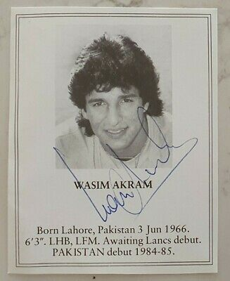 AU35 • Buy Rare Wasim Akram Signed Book Plate Pen Picture England Cricket