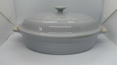 Le Creuset Mist Grey Oval Casserole Dish With Lid 10.5  X 8  NEW • 65£
