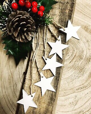 Xmas Tree Decoration Rustic Nordic White Wooden Hanging 5 X Star  • 2.99£