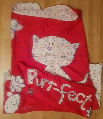Embroidered Cat & Mouse Purr-fect/Squeak Red Single Duvet Cover + Pillowcase Set • 5£