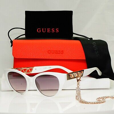 £44.10 • Buy Authentic GUESS Womens Sunglasses White Gold Crystal Diamante Chain GU 7690 21F
