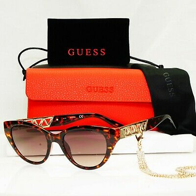 £44.10 • Buy Authentic GUESS Womens Sunglasses Brown Gold Crystal Diamante Chain GU 7690 52F