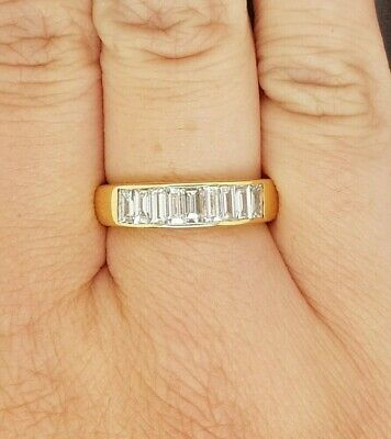 AU2880 • Buy Diamond Ring: 18ct Yellow Gold Band With Channel Set Baguette Diamonds Size O
