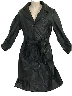 $ CDN56.99 • Buy Vintage Womens Danier Leather Trench Coat Black Size Small Belted