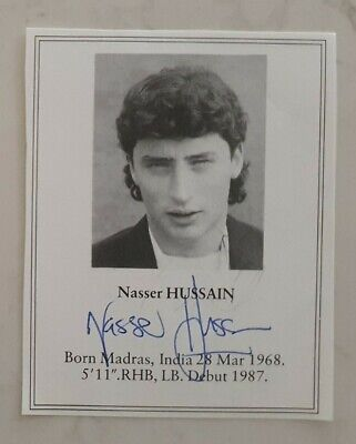 AU15 • Buy Rare Early Nasser Hussain Signed Book Plate Pen Picture England Cricket