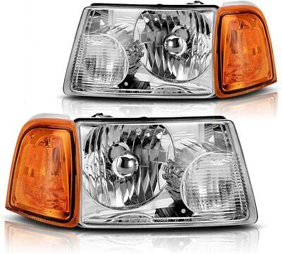 $141 • Buy For 2001-2011 Ford Ranger Chrome Headlights With Orange Corner Turn Signal Lamps