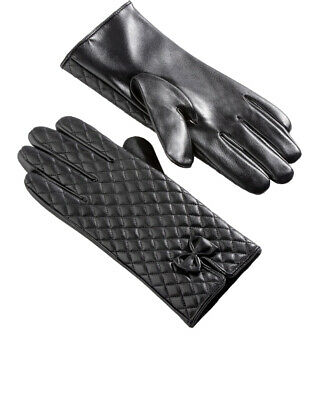 £9 • Buy Anna Rose Quilted Leather Look Gloves - Ladies Womens - Klass Collection