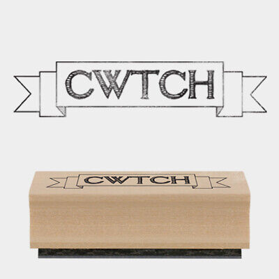£3.95 • Buy East Of India CWTCH Small Rubber Stamp 4.8 X 1.5cm Wood Backed New