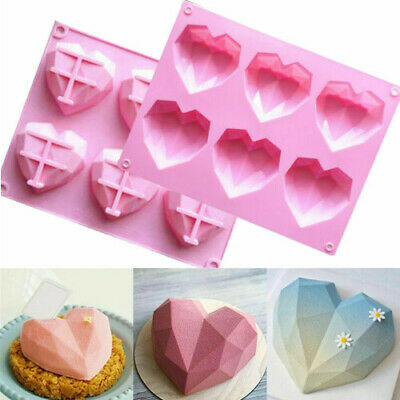 £3.99 • Buy 3D Silicone Heart Fondant Mould Cake Chocolate Baking Mold Candy Jelly Soap Tray