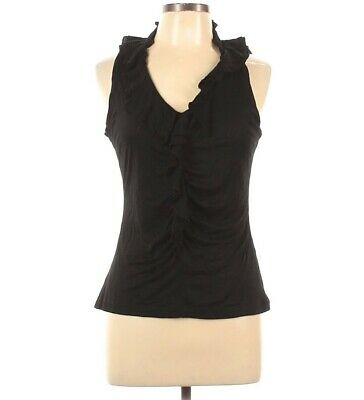 $ CDN18.31 • Buy White House Black Market L Ruffle Neck Ruched Blouse Tank Top Sleeveless NWT