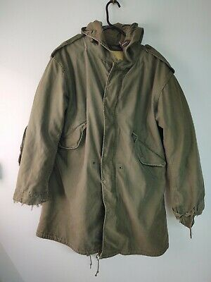 $150 • Buy Vtg US Army 1st Gen M-1951 Fishtail Parka With Wool/Cotton Pile Liner Size Small