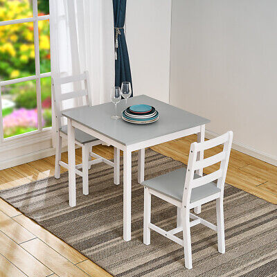£59.99 • Buy Modern 2 Seater Grey&White Solid Wood Dining Table And 2 Chairs Set Furniture