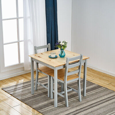 £59.99 • Buy Solid Wooden Grey Dining Table And 2 Chairs Set Kitchen Room Home
