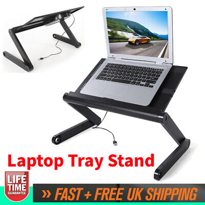 Powerful Folding Laptop Table Desk Notebook Tray Stand Bracket With Cooling Fan • 16.99£