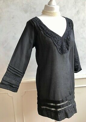 NEW+TAGS - PIA ROSSINI Black 100% Cotton Lace Collar Smock Tunic Blouse Top Med • 0.99£