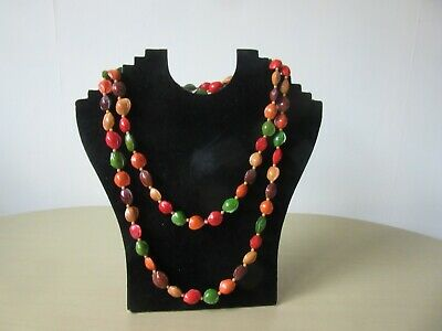 Vintage 1950's / 60's Costume Jewellery  Bead / Seed Flapper Necklace  • 7.99£