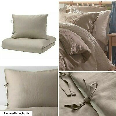 Ikea Puderviva Natural Tan Linen Single Bed Duvet Cover Set Brand New & Sealed • 35.98£
