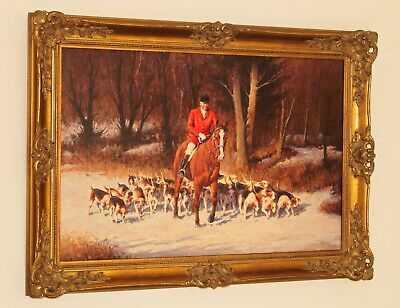 £695 • Buy RONALD MOSELEY Superb Oil Painting Of A Fox Hunting Scene With Huntsman & Hounds