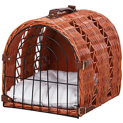 £33.35 • Buy Pawhut Wicker Cat Carrier Basket Kitten Bed Portable Pet Caves Houses With Soft