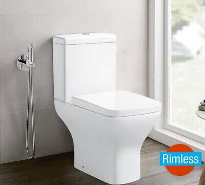 £159 • Buy Galaxy Rimless Compact Close Coupled Wc Toilet Open Back & Soft Close Seat
