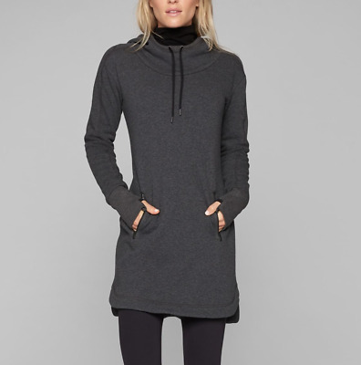 $ CDN75.35 • Buy ATHLETA CHARCOAL THUMBHOLES LONG SLEEVE SOFT COZY CARMA HOODIE DRESS Sz XL