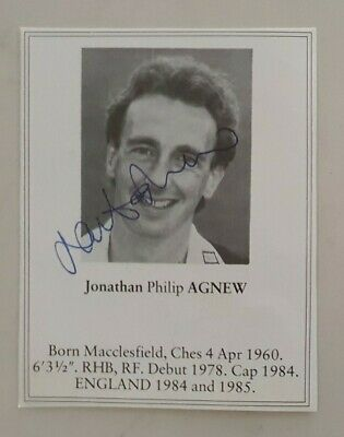 AU10 • Buy Jonathan Agnew Signed Book Plate Pen Picture England West Indies Cricket
