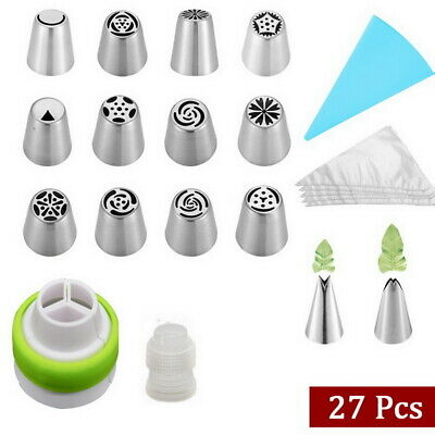 27pcs Russian Leaf Flower Icing Piping Nozzle Tips Cake Topper Baking Tools • 7.89£