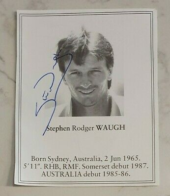 AU18.75 • Buy Rare Early Steve Waugh Signed Book Plate Pen Picture England Cricket