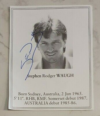 AU25 • Buy Rare Early Steve Waugh Signed Book Plate Pen Picture England Cricket