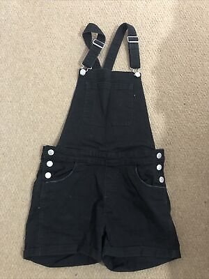 Girl H&M DUNGAREES SHORTS STYLE Age 14Y  Black Denim • 4£