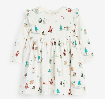 £4.99 • Buy Next Ecru Christmas Print Jersey Dress Up To 1 Month, Up To 3 Months, 3-6 Months