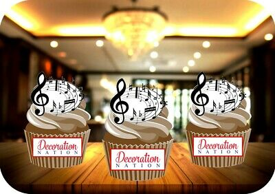 £2.99 • Buy Musical Notes Circle 12 Edible STANDUP Cake Toppers Decoration Birthday Music
