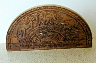 Unusual Carved Wood Arched Case Box With Hidden Secret Compartments For Trinkets • 49.99£