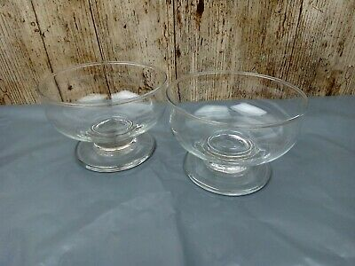 2x Ice Cream Sundae Glass Footed Appetizer Dessert Cocktail Fruit Pudding Dishes • 3£