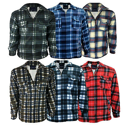 £12.99 • Buy Mens Padded Shirt Fur Lined Lumberjack Flannel Work Jacket Warm Thick Size L