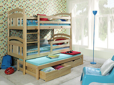 Bunk Bed Triple Sleeper Trundle Solid Pine Wood Frame  Childrens Adults • 499£