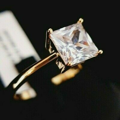 Ladies 925 Sterling Silver Yellow Gold Simulated Diamond Solitaire Ring Size U • 17.95£