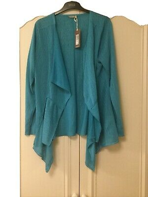Marks And Spencer 16 Ladies Longline Top /cover Up /cardigan Blue • 6£