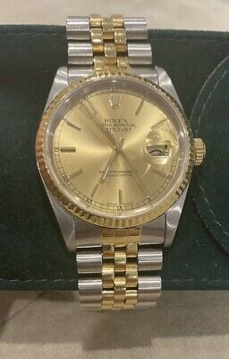 $ CDN8250 • Buy ROLEX DateJust 16233 18K TwoTone Gold Stainless Champagne Jubilee Watch Serviced