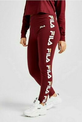 Fila Womens Girls Burgundy Red Cotton Stretch LOGO Leggings Joggers Trackpants  • 16.99£