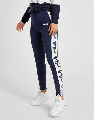 Fila Womens Girls Navy Blue Panel Cotton Stretch LOGO Leggings Joggers Trackpant • 9.99£
