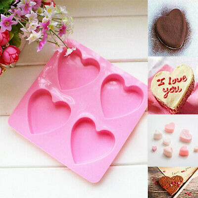£2.98 • Buy Silicone Heart Shaped Mould 4 Large Cells Cookies Baking Chocolate Soap Moulds